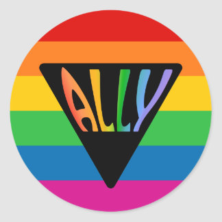 Triángulo gay del aliado pegatina redonda