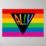 Triángulo gay del aliado póster