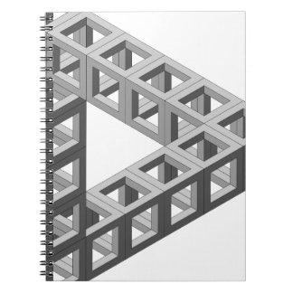 Triángulo imposible de la ilusión óptica libros de apuntes