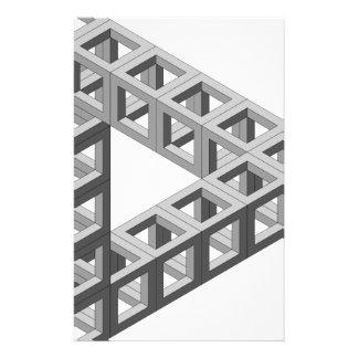 Triángulo imposible de la ilusión óptica papelería personalizada