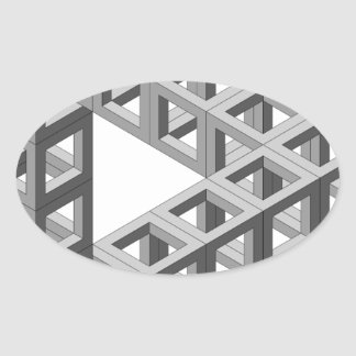 Triángulo imposible de la ilusión óptica pegatina ovalada