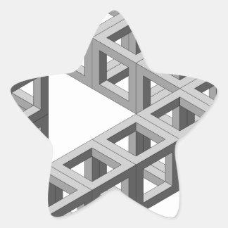 Triángulo imposible de la ilusión óptica pegatina en forma de estrella