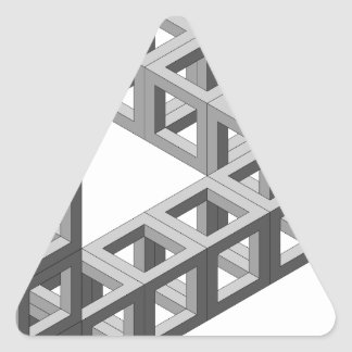 Triángulo imposible de la ilusión óptica pegatina triangular
