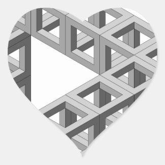Triángulo imposible de la ilusión óptica pegatina en forma de corazón