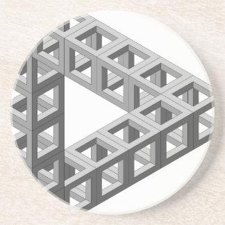 Triángulo imposible de la ilusión óptica posavaso para bebida