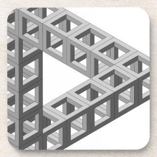 Triángulo imposible de la ilusión óptica posavasos de bebidas