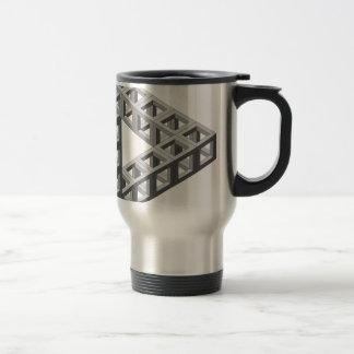 Triángulo imposible de la ilusión óptica tazas de café