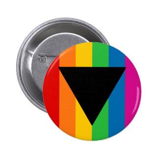 Triángulo lesbiano del negro del orgullo pin redondo de 2 pulgadas