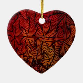 Triángulo loco adorno navideño de cerámica en forma de corazón