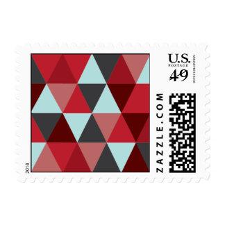 - Triángulo - rojo y azul claro geométricos Timbres Postales