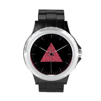 Triángulo rosado sellado doble reloj