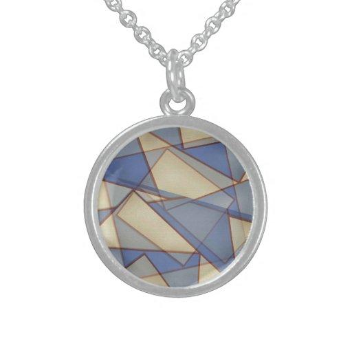 Triángulos abstractos collares de plata esterlina
