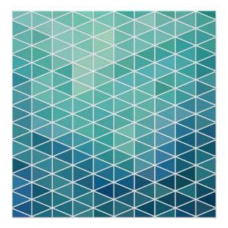 Triángulos abstractos de la aguamarina posters