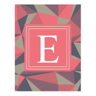 Triángulos abstractos rosados del monograma tarjetas postales