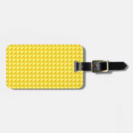 Triángulos - amarillo y amarillo de la mandarina etiqueta para equipaje