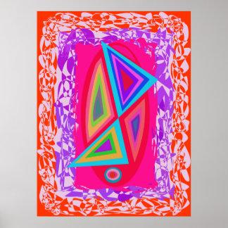 Triángulos coloreados arco iris póster