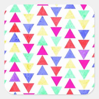 triángulos coloreados pegatina cuadrada