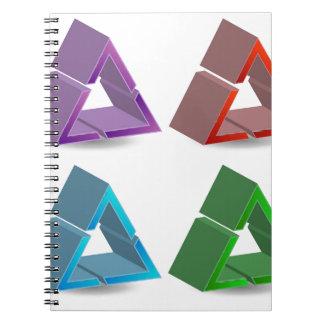 Triángulos coloridos libro de apuntes