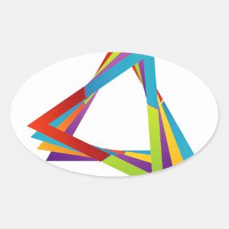 Triángulos coloridos pegatina ovalada