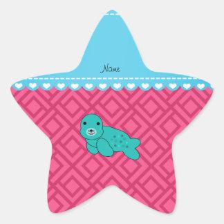 Triángulos conocidos personalizados del rosa del pegatina en forma de estrella