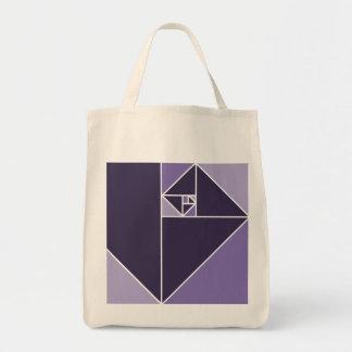 Triángulos de oro del coeficiente (púrpuras) bolsa tela para la compra