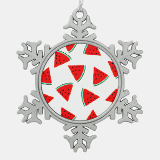 Triángulos del modelo de la sandía adorno de peltre en forma de copo de nieve