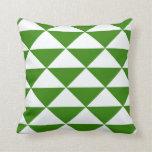 Triángulos del verde y del blanco de hierba cojín