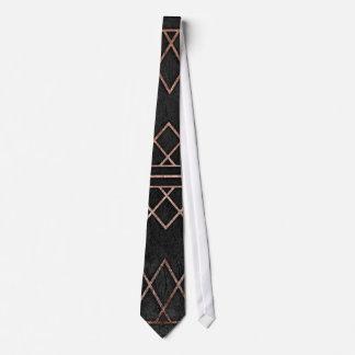 Triángulos geométricos del falso oro color de rosa corbata