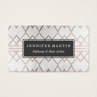 Triángulos geométricos del falso oro color de rosa tarjeta de negocios