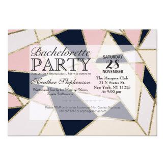 """Triángulos geométricos del oro elegante invitación 5"""" x 7"""""""