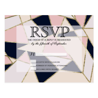 Triángulos geométricos del oro elegante tarjeta postal