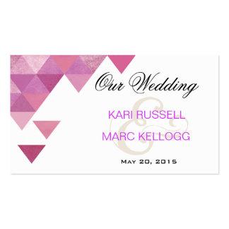 Triángulos geométricos que casan púrpura de la lil tarjetas de visita