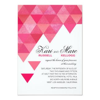 """Triángulos geométricos que casan rosas fuertes del invitación 5"""" x 7"""""""