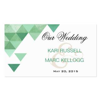 Triángulos geométricos que casan verde menta del W Tarjeta De Visita