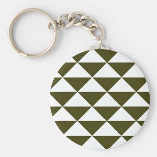 Triángulos imperecederos y blancos llavero redondo tipo chapa