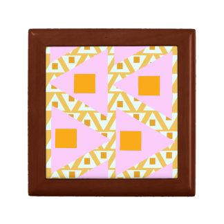triángulos mezclados del naranja rosado amarillo joyero cuadrado pequeño