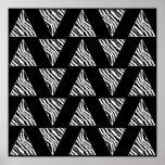 Triángulos monocromáticos de la raya de la cebra e posters