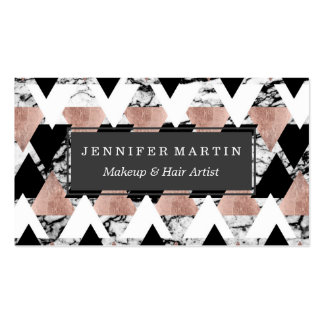 Triángulos negros modernos del oro del rosa blanco tarjetas de visita