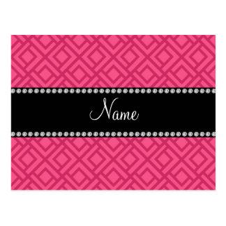 Triángulos que entrelazan rosados conocidos tarjeta postal