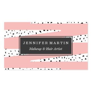 Triángulos rosados elegantes artísticos del zigzag tarjetas de visita