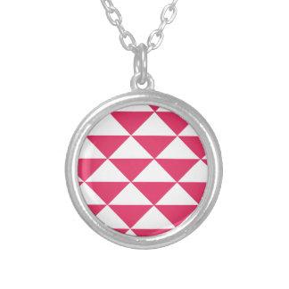 Triángulos rosados y blancos de Bubblegum Colgante Redondo