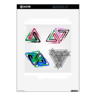 Triángulos subiós pluma artística skins para iPad 2