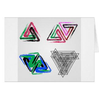 Triángulos subiós pluma artística tarjeta de felicitación