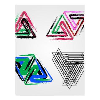 Triángulos subiós pluma artística tarjeta postal