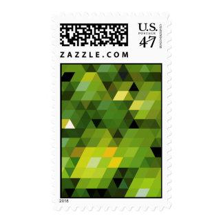 Triángulos verdes geométricos de los modelos el   sello