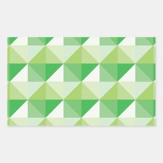 Triángulos verdes pegatina rectangular