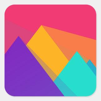 Triángulos y pirámides geométricos brillantemente pegatina cuadrada