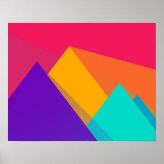 Triángulos y pirámides geométricos brillantemente póster