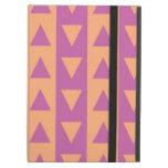 Triángulos y rayas púrpuras y anaranjados