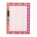 Triángulos y rayas púrpuras y anaranjados pizarra blanca